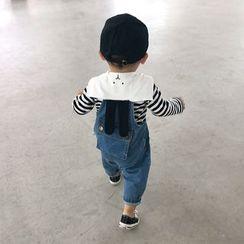 MOM Kiss - Baby Striped Animal Collar T-Shirts / Denim Jumpsuit