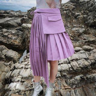 Ultra Modern - Accordion Pleat Asymmetrical Skirt