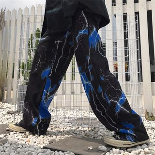 Giuliana - Lightning Print Straight Fit Pants