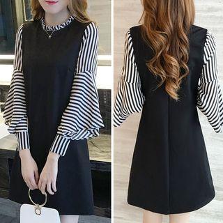 Carmenta - Puff-Sleeve Striped Panel Mini A-Line Dress