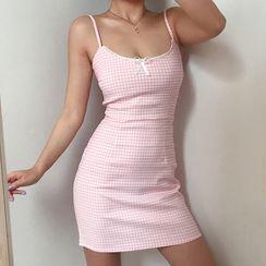 BERAN STUDIO - 格子细肩带蝴蝶结迷你塑身连衣裙