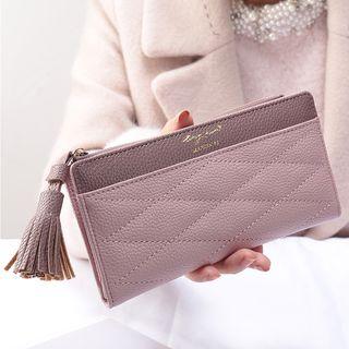 bellflowers - Faux-Leather Tasseled Long Wallet