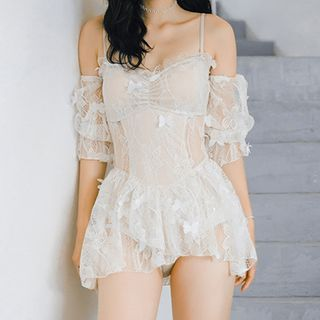 Roseate - Lace Cold-Shoulder Swimdress