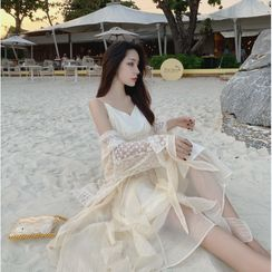 Yuxi - Spaghetti Strap Midi Shift Dress / Flower Print Open Front Long Light Jacket