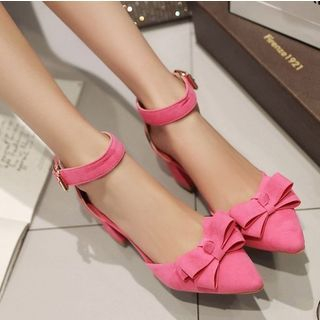 Freesia - Bow Accent Ankle Strap Chunky Heel Pumps