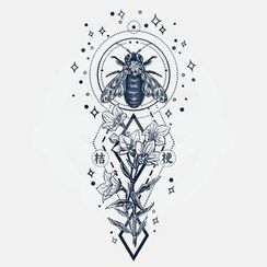 abecome - Bee & Flower Waterproof Temporary Tattoo