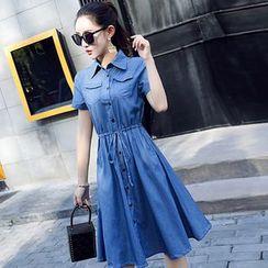 Sugar Town - Short-Sleeve A-Line Denim Shirt Dress