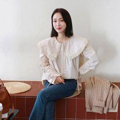 Seoul Fashion - Crochet-Trim Capelet-Collar Blouse