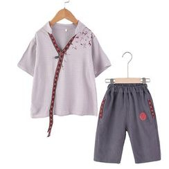 SEE SAW - Kids Set: Embroidered Short-Sleeve Top + Shorts