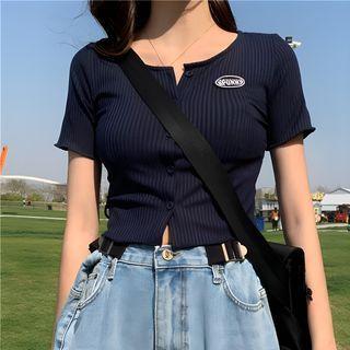 monroll - 短袖条纹钮扣上衣
