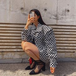 LIPHOP - Gingham Cropped Trucker Jacket
