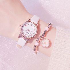 Moska - 套裝: 帶式手錶 + 珠飾手鏈