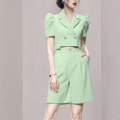 Aurora - 套裝: 短袖短款襯衫 + 短褲
