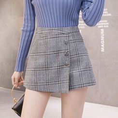 Peachton - Plaid Woolen Skorts