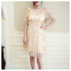Sodoo - 套装: 短袖亮片星星网纱迷你A字连衣裙 + 吊带连衣裙