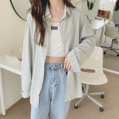 CosmoCorner - Long-Sleeve Striped Loose-Fit Shirt