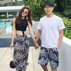 Clair Fashion - Couple Matching Printed Bikini + Cover / Swim Shorts