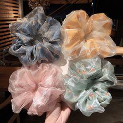Miss Floral - Floral Print Mesh Scrunchie