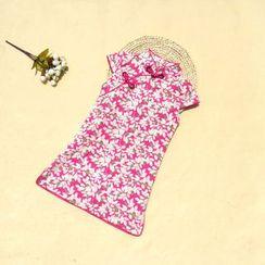 Lotus Seed - Kids Floral Cap-Sleeve Cheongsam