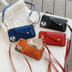 ZOGO - Faux Leather Neck Strap Phone Case - iPhone 11 Pro Max / 11 Pro / 11 / SE / XS Max / XS / XR / X / SE 2 / 8 / 8 Plus / 7 / 7 Plus