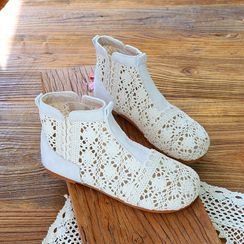 Daminsky - Crochet Panel Flat Short Boots