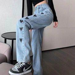 Geuleom - High-Waist Heart Embroidery Straight Leg Jeans