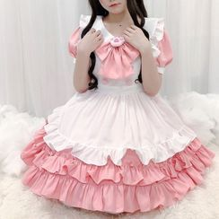 Sohma - Set: Puff-Sleeve Ruffled Mini A-Line Dress + Apron + Ribbon Headband