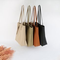 Mimosa(ミモザ) - Set: Faux Leather Shoulder Bucket Bag + Pouch