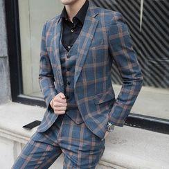 Deepwood - Set: Plaid Blazer + Dress Vest + Dress Pants