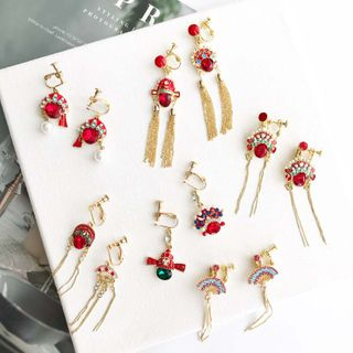 Mimishi - Faux Crystal Chinese Opera Drop Earring (Various Designs)