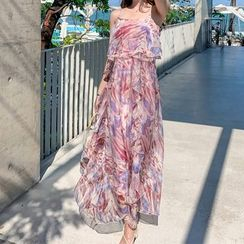 Aurora - 细肩带印花连衣长裙