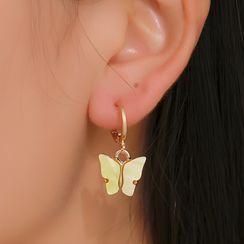 Mulyork - アクリル製蝶々 イアリング(吊り下げ型)