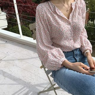 Hello sweety - Balloon-Sleeve Floral Print Blouse