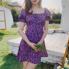 TOHADA - Puff Short-Sleeve Floral Print Mini A-Line Dress