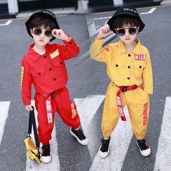 PAM - 小童套裝: 字母襯衫 + 哈倫褲