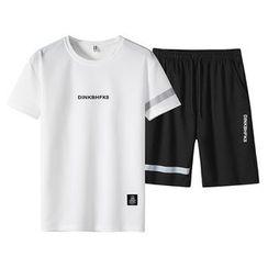 Sheck - 套裝: 字母短袖T裇 + 運動短褲