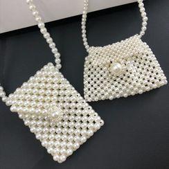 Tangipop - Faux Pearl Crossbody Bag