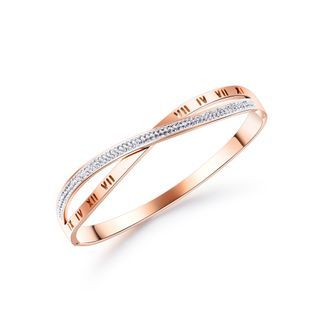 BELEC - Fashion Temperament Plated Rose Gold Roman Numerals Cross Cubic Zirconia 316L Stainless Steel Bangle