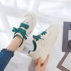 ZDLi - Color Block Lace Up Sneakers
