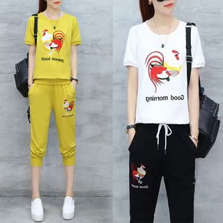 Sienne - Set: Chicken Embroidered Short Sleeve T-Shirt + Cropped Jogger Pants
