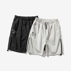 Alvicio - Lettering Drawstring Shorts