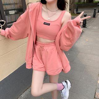 Closette - Hood Plain Jacket / Camisole Top / Shorts