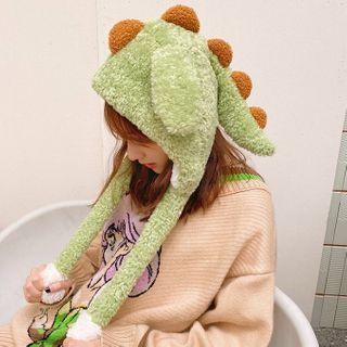Yunikon - Chenille Dinosaur Beanie With Movable Ears