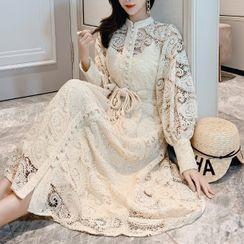 Glaypio - Long-Sleeve Sashed Midi A-Line Lace Dress