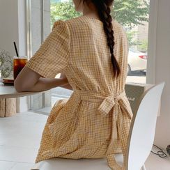 CHERRYKOKO - Accordion-Pleat Maxi Plaid Dress