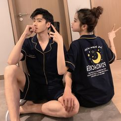 Endormi - Couple Matching Pajama Set: Short-Sleeve Letter Print Top + Shorts