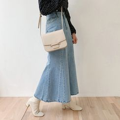 chuu - Denim Maxi Mermaid Skirt