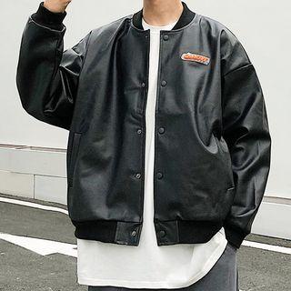 Milioner - Faux-Leather Bomber Jacket