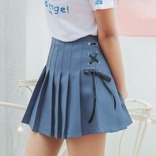 HotBlock - Lace-Up Pleated A-Line Skirt
