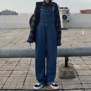 LINSI - 宽腿背带牛仔裤